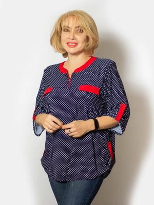 Блуза синяя в горошек | 5539563