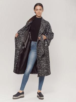 Пальто черно-белое с узором | 5539800