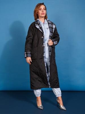Пальто сине-черное в ромб и клетку | 5539805