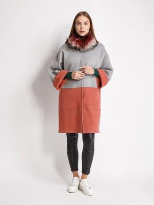 Пальто сіро-коралового кольору | 5539806