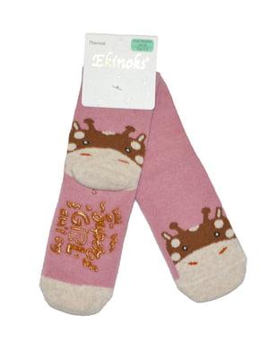 Шкарпетки рожеві з принтом | 5539869