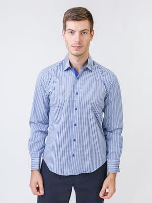 Сорочка синьо-біла в смужку і клітинку | 5515735