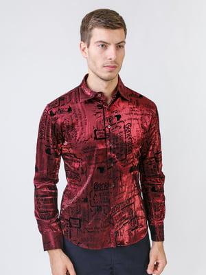 Рубашка бордовая в принт   5515755