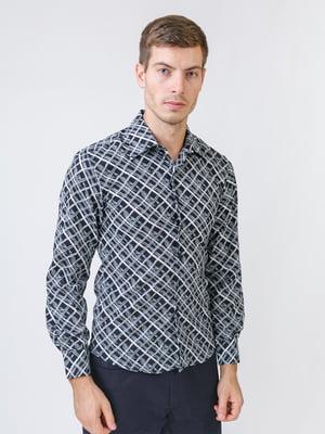 Рубашка черно-серая в принт   5515757