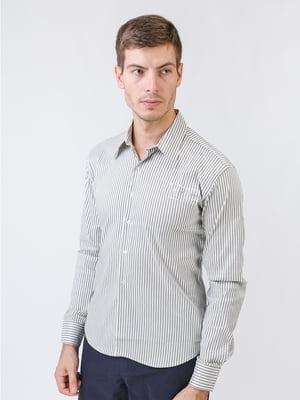 Сорочка біло-оливкового кольору в смужку | 5515762