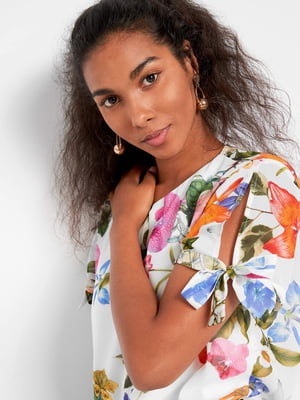 Блуза белая в принт | 5540008