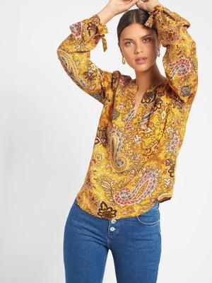 Блуза горчичного цвета в принт | 5540010