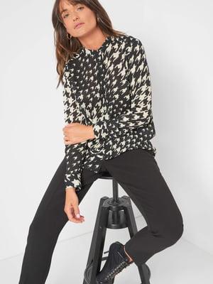 Блуза черно-белая в принт | 5540016