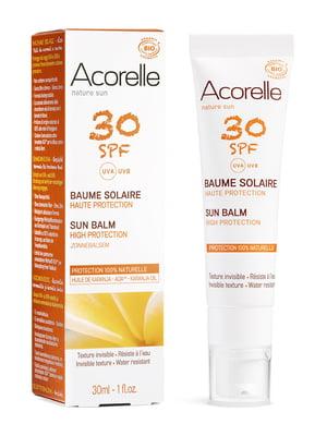 Бальзам для обличчя сонцезахисний Acorelle SPF 30 органічний (30 мл) | 5540493