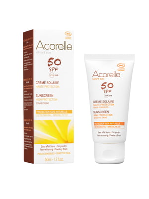 Крем солнцезащитный для лица SPF 50 с эффектом пудры Acorelle органический (50 мл)   5540494