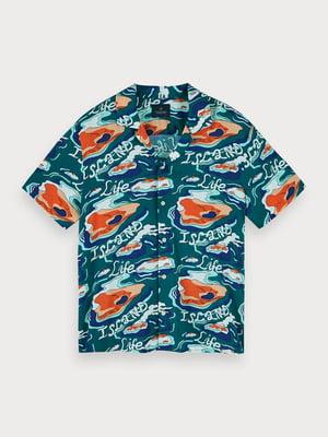 Рубашка бирюзовая в принт | 5529262