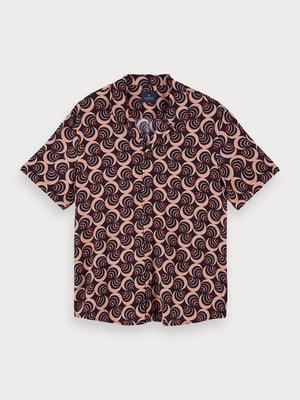 Рубашка бордово-коричневая в принт | 5529263