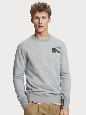 Свитшот серый с логотипом | 5529268