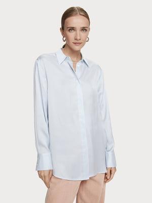 Рубашка голубая в однотонную полоску | 5529335