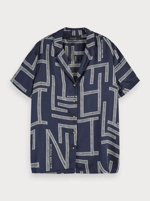 Рубашка синяя в принт | 5529338