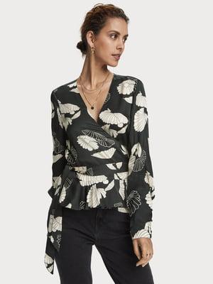 Блуза черная в цветочный принт | 5529369