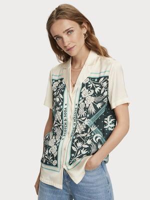 Рубашка бежевая в цветочный принт | 5529435