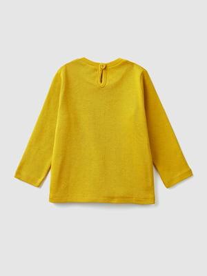 Лонгслив желтый с принтом | 5529458