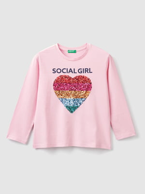 Лонгслів рожевий з декором   5540585