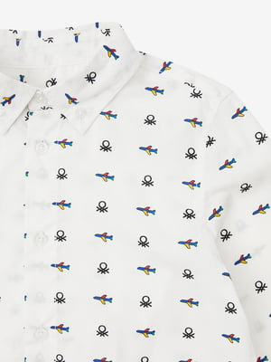 Рубашка белая с принтом | 5540712