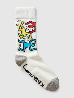 Шкарпетки білі з малюнком | 5540739