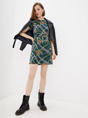 Сукня зелена в принт і в смужку | 5542470