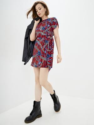 Сукня червона у принт і в смужку | 5542474