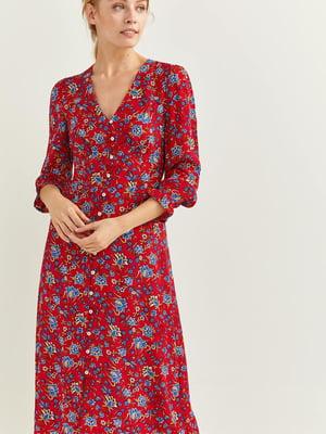 Сукня червона у квітковий принт | 5542530