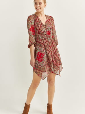 Сукня червона у квітковий принт та орнамент | 5542551