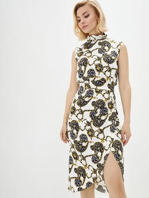 Сукня біла в комбінований принт | 5542467