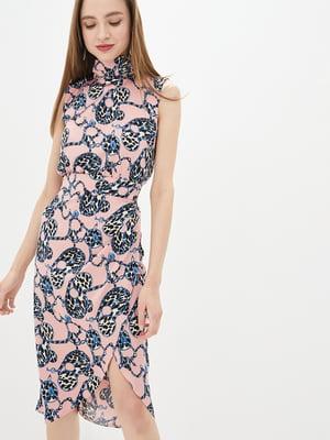 Сукня рожева у комбінований принт | 5542468