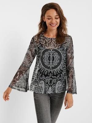 Блуза сіро-чорна з принтом | 5520056