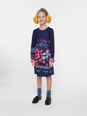 Платье синее в цветочный принт | 5540233