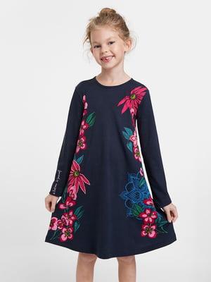 Платье синее в цветочный принт | 5540234