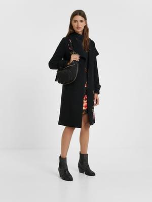Пальто черное с цветочным рисунком | 5540262