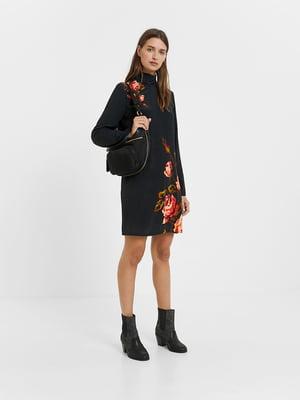 Сукня чорна з квітковим малюнком | 5540284