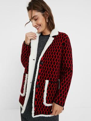 Куртка-жакет червоного кольору в принт | 5540264