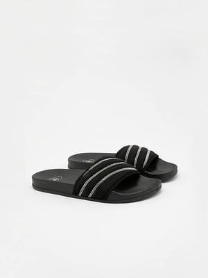 Шльопанці чорні з декором | 5542005