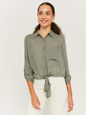 Рубашка оливкового цвета с декором | 5542037