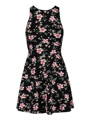 Сукня чорна в квітковий принт | 5542047