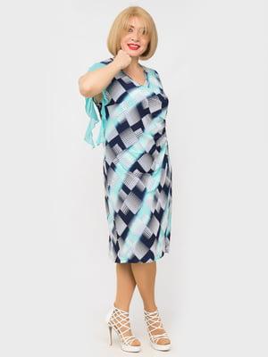 Сукня блакитна в принт | 5546806