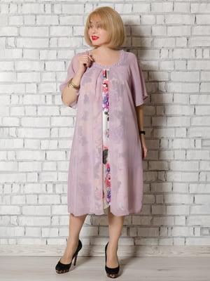 Сукня фіолетова в квітковий принт | 5546808