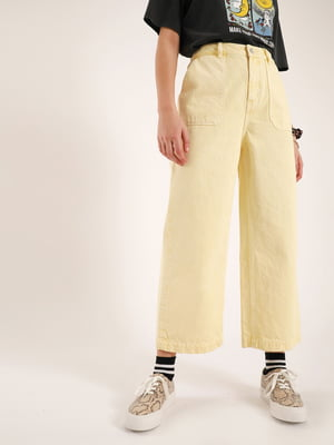 Кюлоты джинсовые светло-лимонного цвета | 5541707