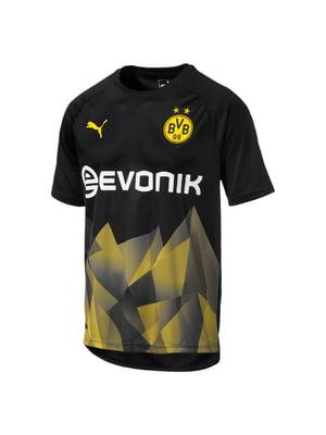 Футболка черно-желтая с принтом и логотипом   5546644