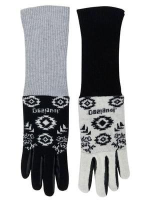 Перчатки черно-серые с принтом | 5547155