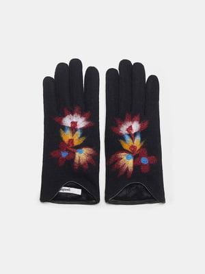 Рукавички чорні з декором | 5547157
