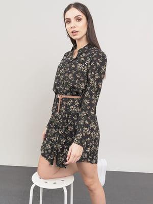 Сукня чорна у квітковий принт | 5547257
