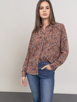 Блуза бежевая в принт | 5547357