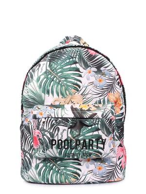Рюкзак бело-зеленый с цветочным принтом | 5547732