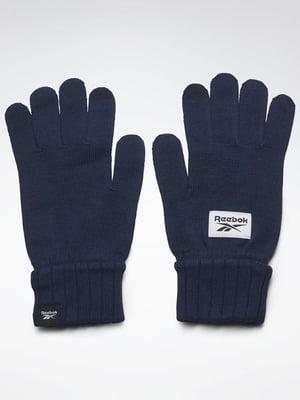 Перчатки темно-синие с логотипом | 5538180